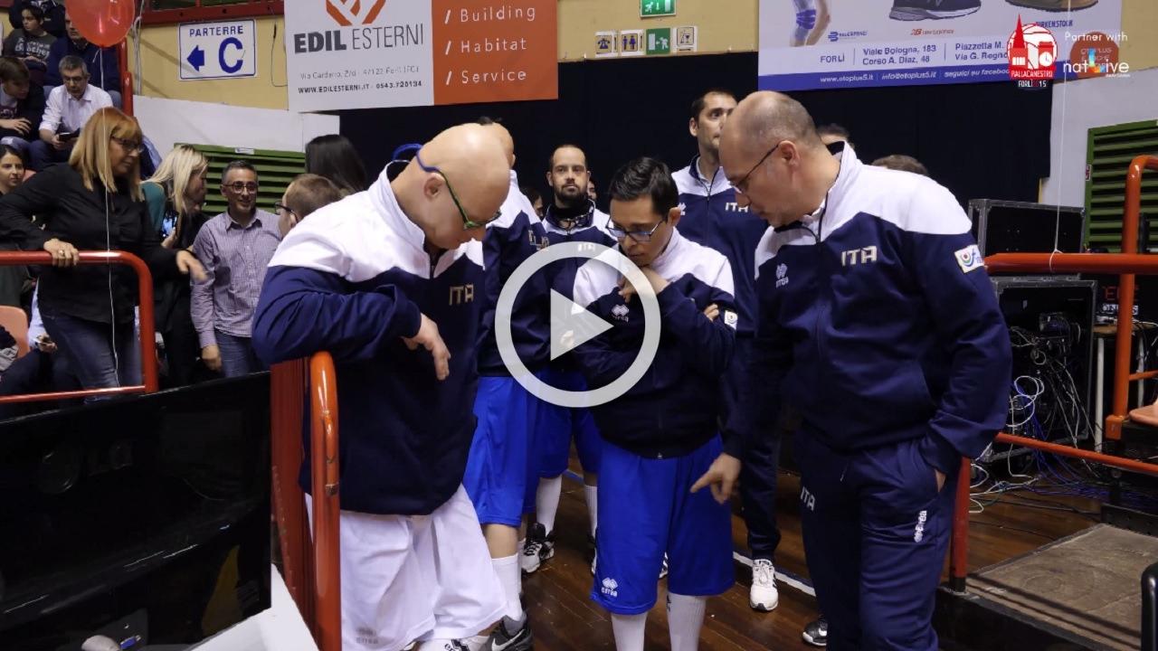 Unieuro Forlì-Treviso Basket -Ospiti della partita i ragazzi della nazionale Campione del Mondo FISDIR-