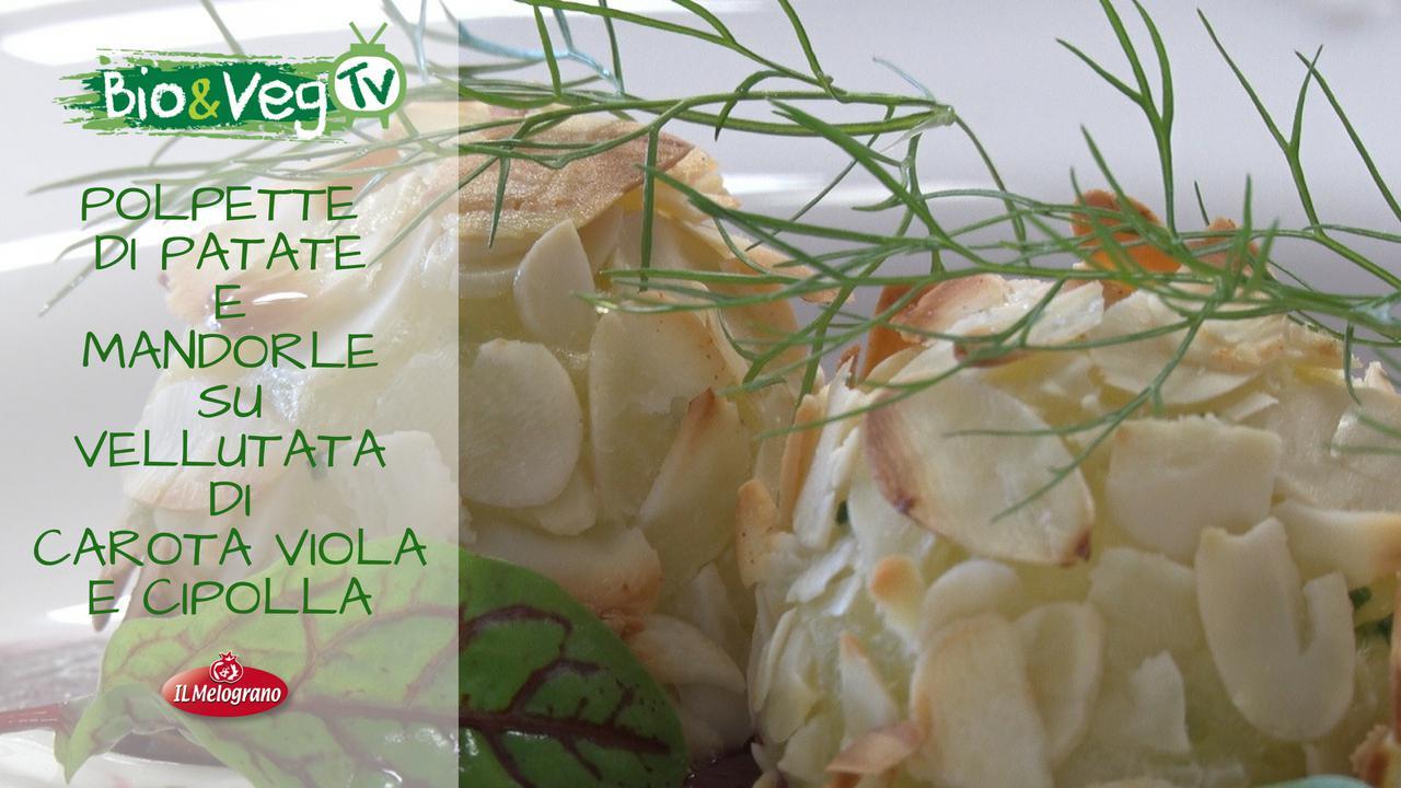 Polpette di Patate e Mandorle su Vellutata di Carota Viola e Cipolla